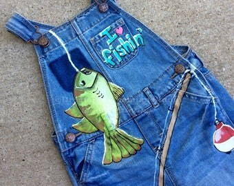 Gone Fishin Party Overalls, Fishing Photo Prop Clothes, Fish Denim Dungarees, Daddy Daughter Photography Props, Cute Girls Birthday Gift her