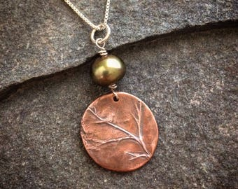 Copper Bird & Branch Necklace