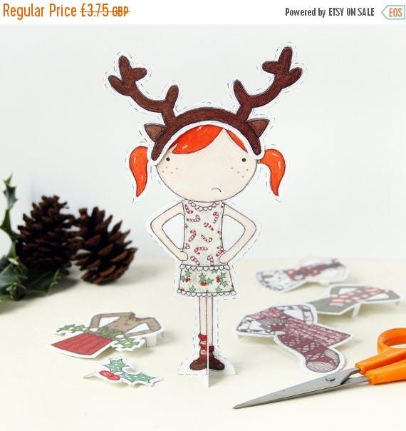 SALE Clara Paper Doll, Dress Up Doll - The Christmas Special - Postcard Paper Toy