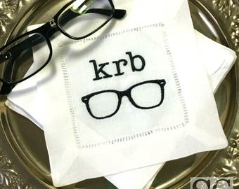MONOGRAM Cocktail Napkins. Hipster Nerd Black Rim Glasses. Embroidered Linens. Bar Cart Accessories. Stock the Bar Party. Groomsmen Gift.