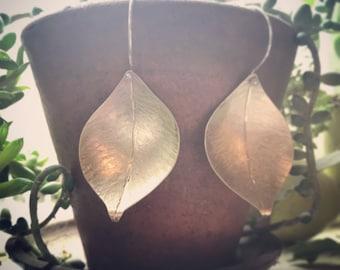 Handformed big brass leaf earrings