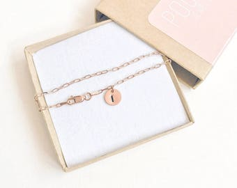 Rose gold personalised initial bracelet - sterling silver core bracelet - rose gold initial tag necklace