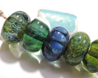 Borosilicate Lampwork Beads AQUAS Two Sisters Designs 060417F