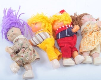 Cabbage Patch Kids Grabbers, Four Vintage Dolls, Brown Hair, Two Boys Wearing Overalls, Yellow Hair ~ The Pink Room ~ 170315