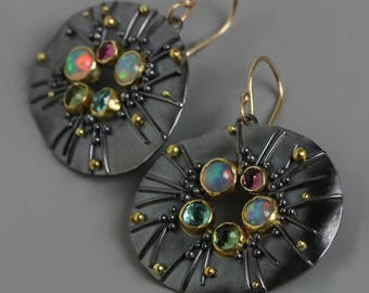 Ethiopian Opal, Tourmaline, 18k Gold and Blackened Silver Oval Grasses and Seeds Earrings