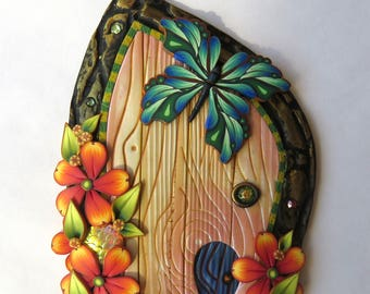 Butterfly Garden Fairy Door Handmade Pixie Portal Miniature with a Pet Door Fairy Garden Decor Tooth Fairy Entrance