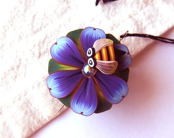 Bumble Bee on a Purple Blue Flower Needle Minder Magnetic Sewing Needle Notions