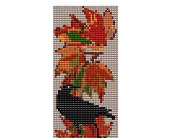 Bead Loom Square Stitch Pattern PDF  Autumn Crow Instant Download Jewelry Home Decor