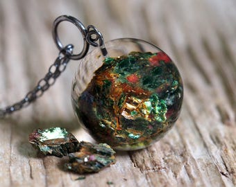 Large Green Mineral  Resin Necklace with Oxidize Silver Chain, Mineral Semi Precious Gemstone, Botanical Jewelry,Natural Jewelry