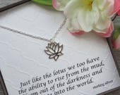 Lotus Flower Necklace - Sterling Silver - Inspirational Jewelry - Lotus Flower Charm - Spiritual Jewelry - Buddhist - Flower Necklace - Yoga