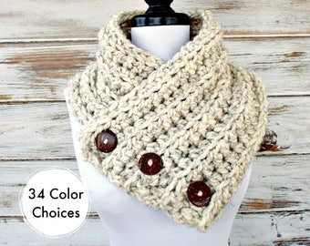 Chunky Scarf Womens Crochet Cowl Wellington Tweed Wheat Cream Scarf - Womens Accessories Fall Fashion Winter Cowl - 34 Color Choices