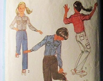 30% OFF SALE 1970s Vintage Sewing Pattern Simplicity 8806 Girls Shirt & Pants Pattern Size 14
