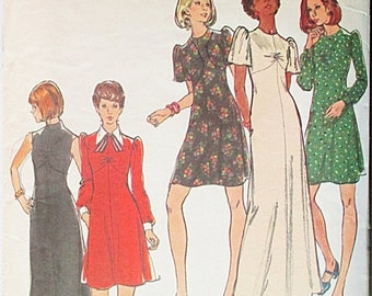 30% OFF SALE 1970s Vintage Sewing Pattern Butterick 3434 Misses Dress Pattern Size 10 Bust 32 1/2