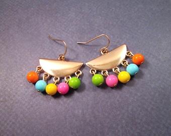 Fringe Earrings, Rainbow Glass Beaded, Gold Dangle Earrings, FREE Shipping U.S.