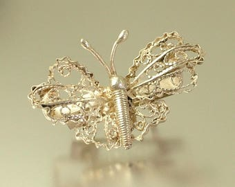 Vintage/ estate Art Deco 1940s continental silver filigree butterfly/ insect brooch / pin - jewelry / jewellery