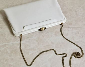 White Evening Bag with Chain Strap and Dusty Rose color lining - Mardone - 1960s