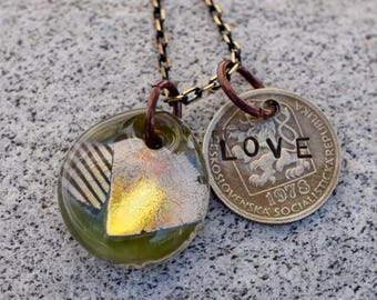 Dichroic Glass Pendant Boro Lampwork Stamped Coin Necklace - Love