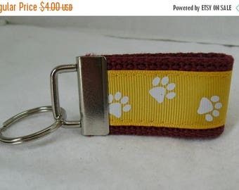 20% OFF Mini Key Fob Paw Print - Gold Maroon School Mascot - Paw Print Key Chain -  Zipper Pull