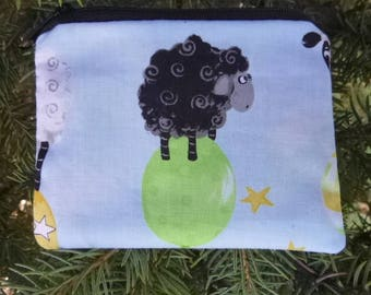 Sheep coin purse, credit card case, gift card pouch, Sheepy Balloons, stitch marker pouch, Cute Sheep, The Raven