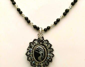 Beadwoven Oval Crane Pendant,  Black Onyx Necklace, Good fortune Crane, Longevity Crane, Silver Crane - Statement Necklace by enchantedbeads