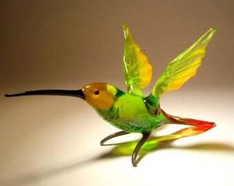 Handmade Blown Glass Figurine Art Green & Yellow HUMMINGBIRD Bird with Red Tail