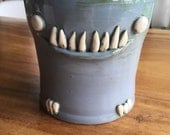 RESERVED --hand thrown, ceramic, goblin planter in tempered blue glaze