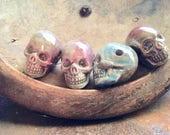 4 Pcs Porcelain Ceramic High Fired Rounded Skull Beads - Glazed