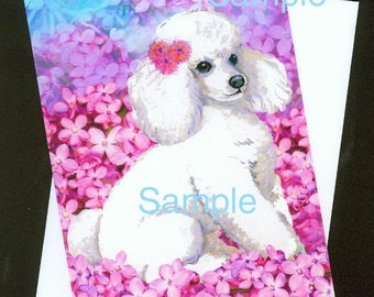 White Poodle in Lavender Lilac Flowers  Greeting Card with Envelope