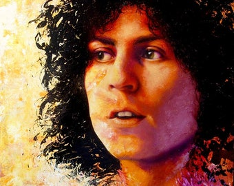 "ORIGINAL Marc Bolan painting, 12x12"", oil on panel"