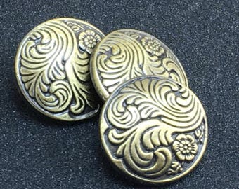FEATHER SWIRLFERN  Embossed Unique Domed Antique Brass Dimensional Buttons  F5