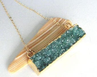 Evergreen Druzy Bar Gold Filled Necklace