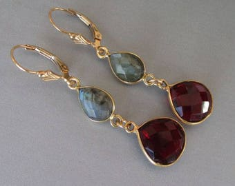 Garnet Quartz Vermeil Labradorite 14kt Gold Filled Fleur De Lis Leverback Earrings