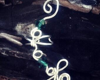 ON SALE Dragonfly Crystal Ear Cuff, No Piercing, Fairy Jewelry, Fantasy Ear Cuff Vine Wrap