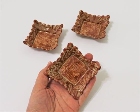 Ceramic Dishes -  Set of 3 - Trinket Dish - Candle Holder - Jewelry Dish - Ceramic Dipping Bowl - Stoneware - Change Dish