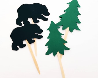 Bear and Tree Cupcake Toppers, Lumberjack Party Toppers, Camping Party Toppers, Cottage Party Toppers, Hunting Party