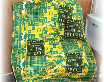 University Of Oregon Ducks Fabrics Patchwork Baby/Toddler Quilt & Pillow