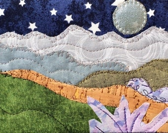 Hiking Postcard - Girlfriend Gift - Moon and Stars - Quilted Fabric Postcard - Landscape Art - Fiber Art - Mountain Decor - Romantic Night