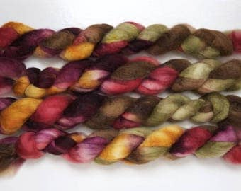 Handpainted Bluefaced Leicester Wool Roving in Autumn by Blarney Yarn