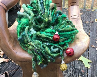 Handspun Art Yarn-Christmas Party-Jazzzturtle Signature HOLIDAY Art Yarn with Dangly Charms