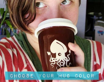 Squid Travel Mug - ceramic lidded coffee cup
