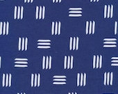 Leah Duncan for Cloud 9 ORGANIC FABRIC - Lines & Shapes - Dashes in Indigo Blue