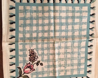 Vintage Turquoise Blue and Black Pink Napkins 4 1950s Gift epsteam Flowers
