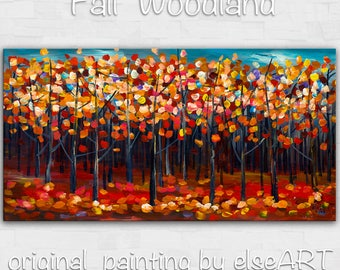 Original abstract Tree art oil painting Autumn red forest on gallery wrap canvas Ready to hang by tim Lam 48x24