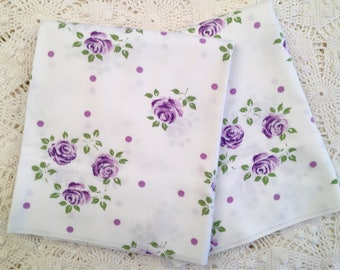 Vintage Pillowcases - All Cotton Muslin - Purple Roses - Cannon Muslin - Vintage Muslin Case - Unused