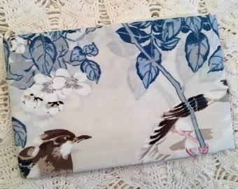 Vintage Springmaid Tranquilty Pillowcase - Asian Bird - Beige & Blue - New - Bird Pillowcase - 1970s Bedding - Vintage Bedding
