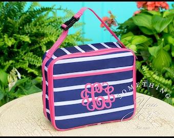 Presley Prep Stripe Lunchbox, School Bags for Girls, Navy and Hot Pink Stripe, Custom insulated lunchbags, bento box, destash, Blanks