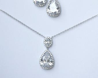 Minimalist Diamante Teardrop Earrings Pendant Necklace Jewelry Set Cocktail Jewelry