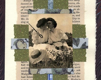 Lesbian Love Wedding Collage Card Young Girl's Wooing