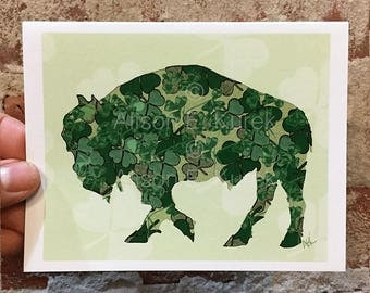 St. Patrick's Day Buffalo Card - Irish Shamrock Card -  Blank Note Card - Buffalo Art - Buffalo NY - Buffalo Gift - Buffalo Greeting Card