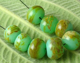 Lampwork beads/SRA Lampwork/beads/handmade lampwork/jade/beach grass/green jade/frit/sea/